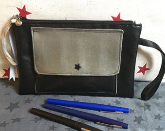 Silver and black pouch