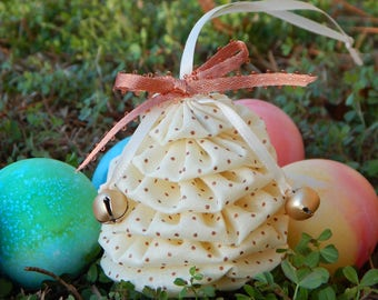 Copper Dots on Cream Yo Yo Egg Ornament