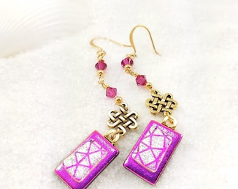 Fused Dichroic glass earrings, Dichroic beads, Hot pink earrings, dichroic earrings, gold plated earrings, artistic earrings, glass fusion