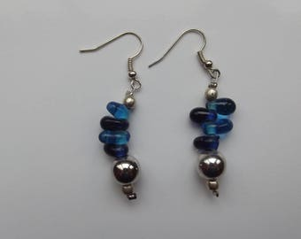 Blue and silver beads on wire earrings