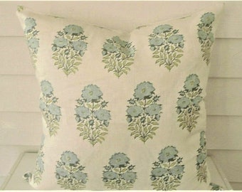 One Side or Both Sides Mughal Flower Pillow Cover