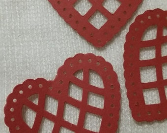 Hearts - Punched Red Scalloped Hearts 50
