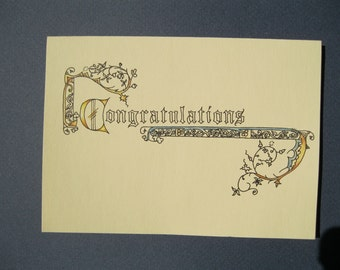 Congratulations card with medieval trim, blank inside
