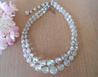 1950s Crystal Necklace, Glass Bead Necklace, Aurora Borealis Double Strand, Multi Strand Clear Glass Beads, 2 Strand AB Crystal, 50s Jewelry