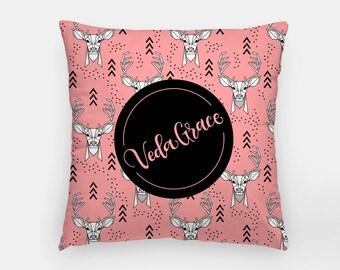Pillow - Custom name - Deer - Pink