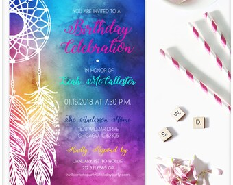 Dreamcatcher Invitation, INSTANT DOWNLOAD, Boho Invitation, Printable Birthday Party Invitation Template, Rainbow, Feathers editable DIY