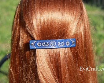 Leather French hair barrette, Handmade Tooled Leather Hair Clip, women Hair Accessory, blue rose flower, hair fashion, Ponytail Holder