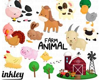 Farm Animal Clipart, Farm Animal Clip Art, Farm Animal Png, Cute Animal Clipart, Chicken Clipart, Barn Clipart, Goat Clipart, Turkey Clipart