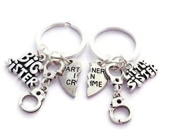 Big Sister and Little Sister Set of Two (2) Big & Little Sister Split Heart Partners in Crime w/ Handcuffs Keychains