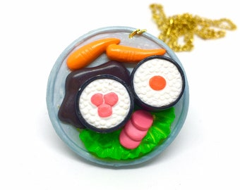 Delightful Sushi Plate Pendant Necklace