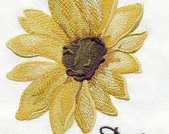 Daisy in Full Bloom Embroidered Flour Sack Hand/Dish Towel