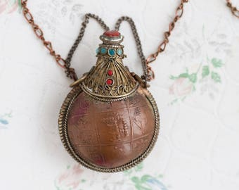 Poison Bottle Necklace - Boho Snuff Vial with Colorful Stones Pendant on long Chain - Copper with Hindi Writing