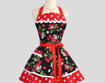 Ruffled Retro Apron - Sexy Womens Apron in Pinup Cherries and Red White Polka Dots Cute Handmade Full Kitchen Apron