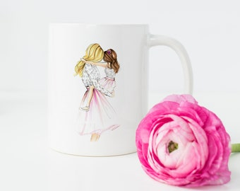 Mommy and Me (MUG) .(Mother's Day Mug, Mother's Day, Mom Gift Ideas, Mother and daughter art, Fashion Illustration)