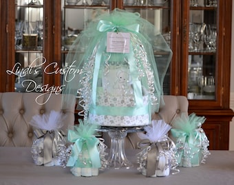 Mint Gray Elephant Diaper Cake Baby Shower Gift Set, Shower Table Centerpieces, Gender Neutral Diaper Cake Baby Gift, Shower Diaper Cake