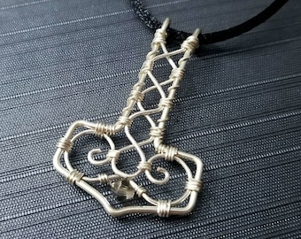 Thor's Hammer wire wrapped pendant necklace