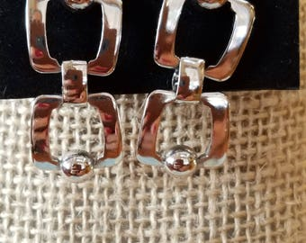 vintage Silvertone earrings, pierced earrings