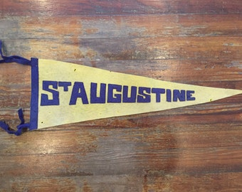 Vintage St. Augustine Pennant Sewn Letters Wool Florida Yellow Blue Travel