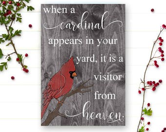 "Condolence Gift - Condolence Sign - When a Cardinal Appears - Remembrance Gift - Visitor From Heaven - Wood Pallet Sign - Cardinal - 14""x22"""