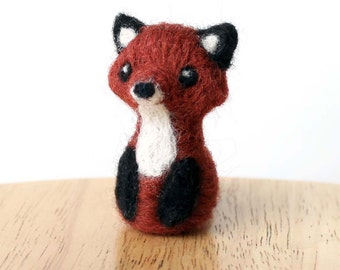 Needle Felted Miniature Fox -  Totem Animal Art Doll 2 Inch Tall Fox - Made to Order - Cute Woodland Felt Fox By Karen Watkins