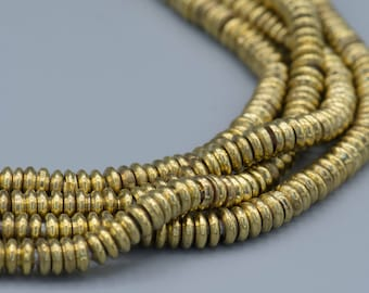 Brass Heishi Spacer Beads 2x5mm with big hole Boho Ethnic Jewelry Making Supplies SKU-MH2X5B-130