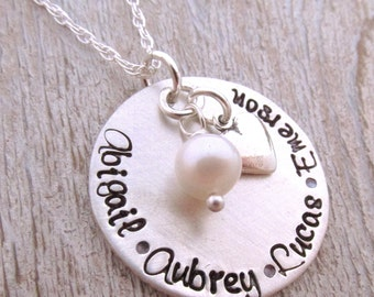 Personalized Necklace with Names - Gift for Mom - Custom Stamped Necklace  - hand stamped jewelry - Mother's Necklace sterling silver