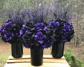 Goth wedding, Item # 6, Gothic wedding Centerpiece, Theme wedding, Black rose, mason jar, black wedding, Goth decor, Steampunk