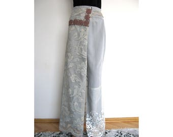 Boho shabby chic light grey thin cotton trousers/ recycled trousers /size 8-10
