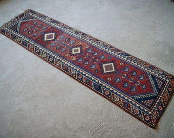 "2'7''x9'1"" Mediterranean Runner Rug, Vintage Turkish Runner, Corridor Hallway Living Room Rug"