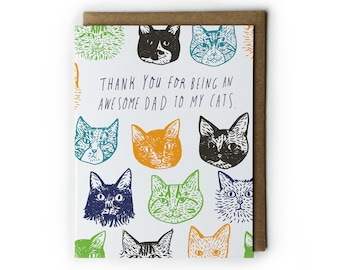 Father's Day Cards, Cat Lover Greeting Cards, Funny Greeting Cards, 4.25x5.5, A2, Hand Lettering, Blue, Green, Orange, Grey, Brown
