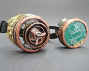 Steampunk Goggle with Propeller and Green Board Cyber, Post Apocalypse, Mad Max, Road Warrior, Burning Man, Neo-Victorian, Wild West, Gears