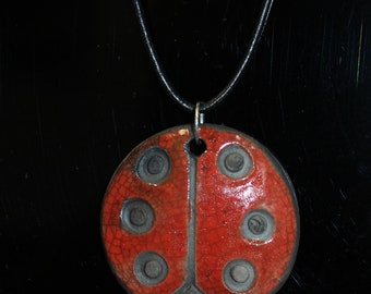 Lady Bug Raku Pendant Necklace