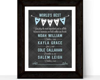 Christmas gift for husband, fathers day gift from kids, fathers day gift from wife, world's best dad wall art, kids birth dates