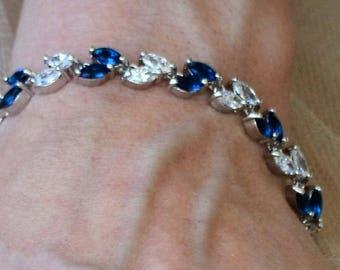 Bridal bracelet, cubic zirconia bracelet, sapphire blue bridal bracelet. VIOLA.