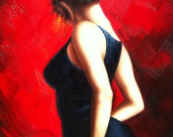 """SENSUAL FLAMENCO DANCER - Original Oil Painting - 24"""" X 36"""" Mounted"""