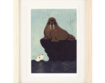 WALRUS AND SEAL Poster Size Linocut Reproduction Art Print: 8 x 10, 9 x 12, 11 x 14, 12 x 16