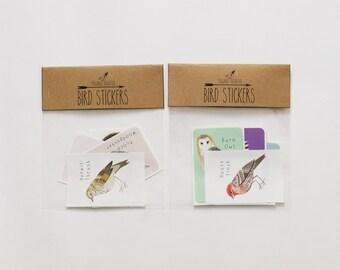 Bird Sticker Set / Two Sets of 5 / Bird Illustrations / Woodpecker / Song Bird / Owl