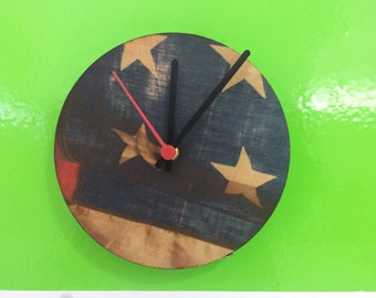 American flag American flag wood wall clock