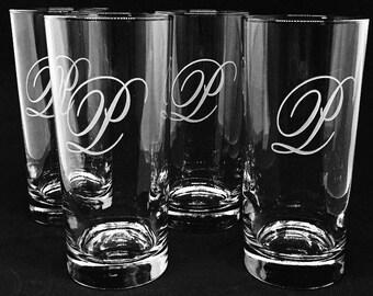 Set of Four Engraved Cooler Glasses • FREE SHIPPING • Tumblers • Drinkware • Barware • Lemonade • Mojito • Personalized • Monogram • Wedding