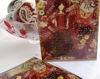 Heart of Gold, Handmade Card, Girl Art Card, Mixed Media Card, Art Card, Greeting Card, Woman Empowerment, Blank Inside, Personal Message