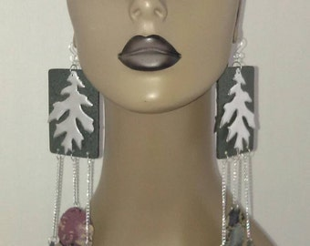 Beautiful Dark Green Wooden Earrings Embellished with Silver Color and Multi Color Leaves, Long Earrings, Large Earrings, Big Earrings