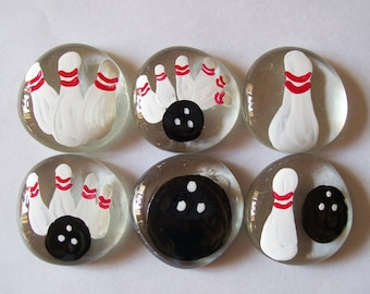 Hand painted large glass gems party favors BOWLING SET