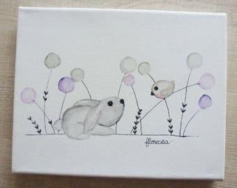 Small canvas rabbit and bird
