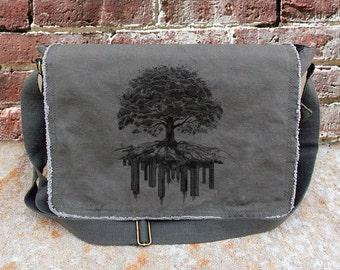 Messenger Bag - Tree and Crumbling City - Screen Printed Messenger Bag