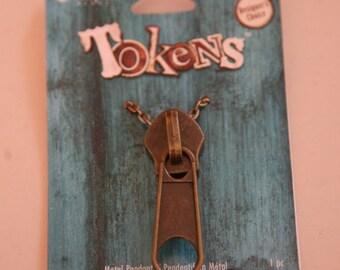 Antiqued Brass Zipper Pendant, Zipper Pendant, Big Zipper, Zipper Necklace, Brass Necklace
