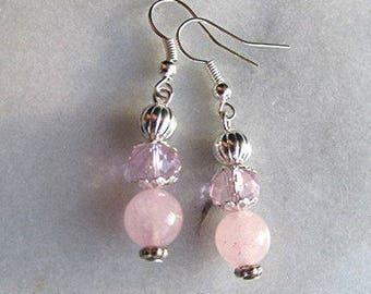 Rose quartz earrings dangle earrings beaded earrings pink gemstone earrings crystal bead pink earrings silver earrings gift.