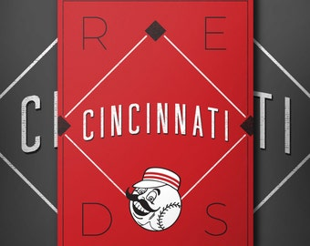 Cincinnati Reds Retro Inspired Baseball Poster with Mr. Red