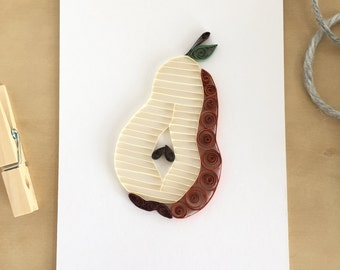 Quilling Paper Bosc Pear Home Decor, Brown Pear Wall Decor, Country Kitchen Pear Art, Rustic Pear Decoration, Foodie Gift Under 30