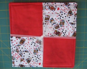 Card Club Pair Pot Holders Hot Pads Diamonds Hearts Spades Clubs Red Deck of Cards