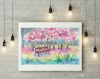Pink wall art decor, Watercolor landscape painting,  Small painting, Watercolor artwork, Aquarelle painting, Watercolor original artwork